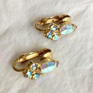 Vintage iridescent rhinestone earrings clip on